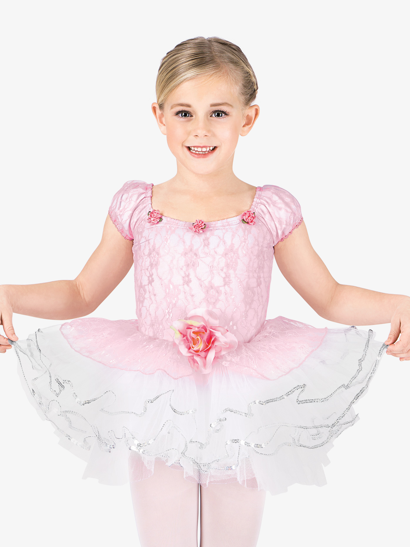 La Petite Ballerina Child Rose Lace Tutu Dance Costume Dress SK582