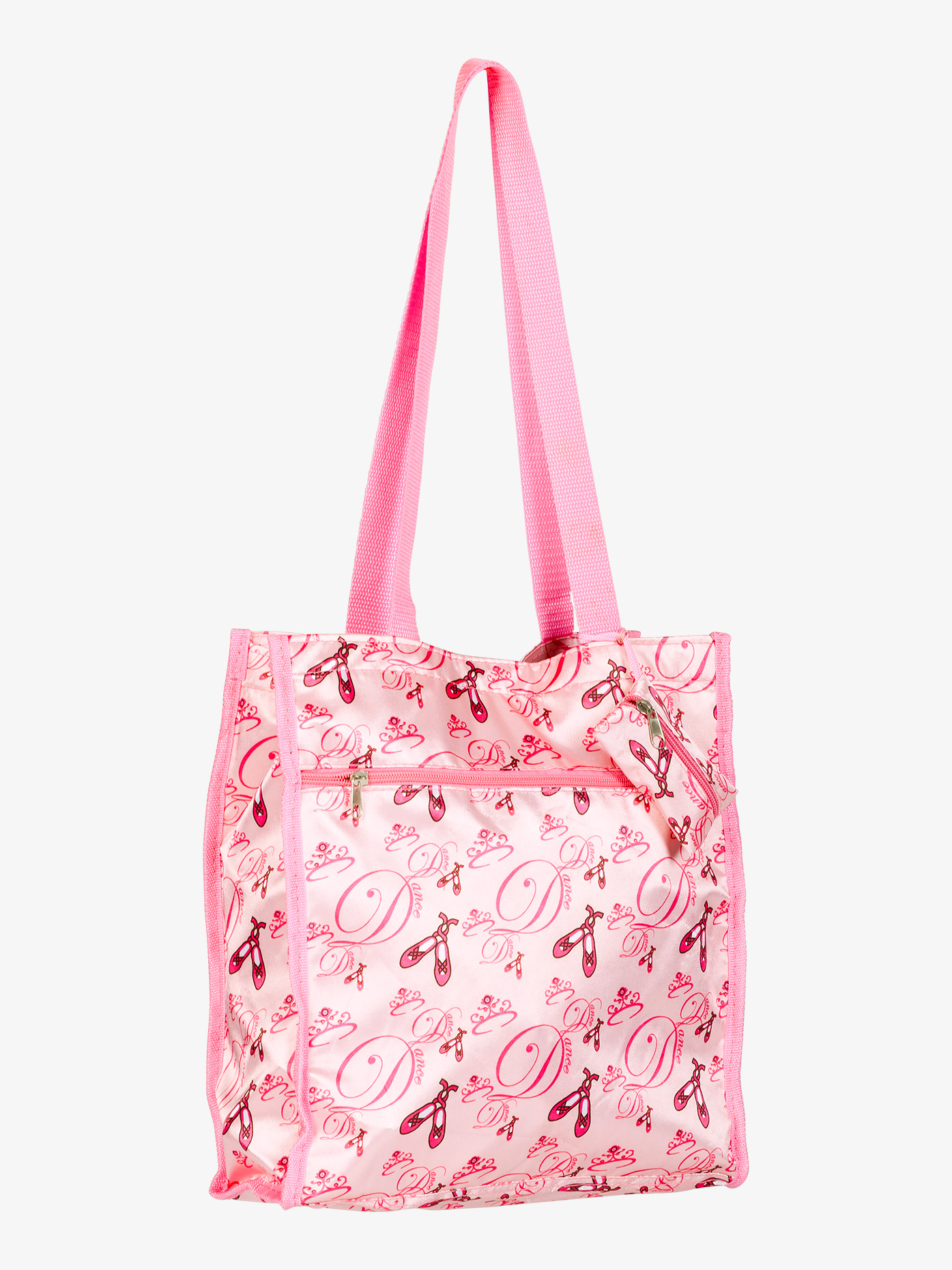 """Pretty satin ballet print tote bag features outer and inner zipper pockets, a zip top with Velcro tabs, and nylon handles. Matching coin purse is included!Size: 13"""""""