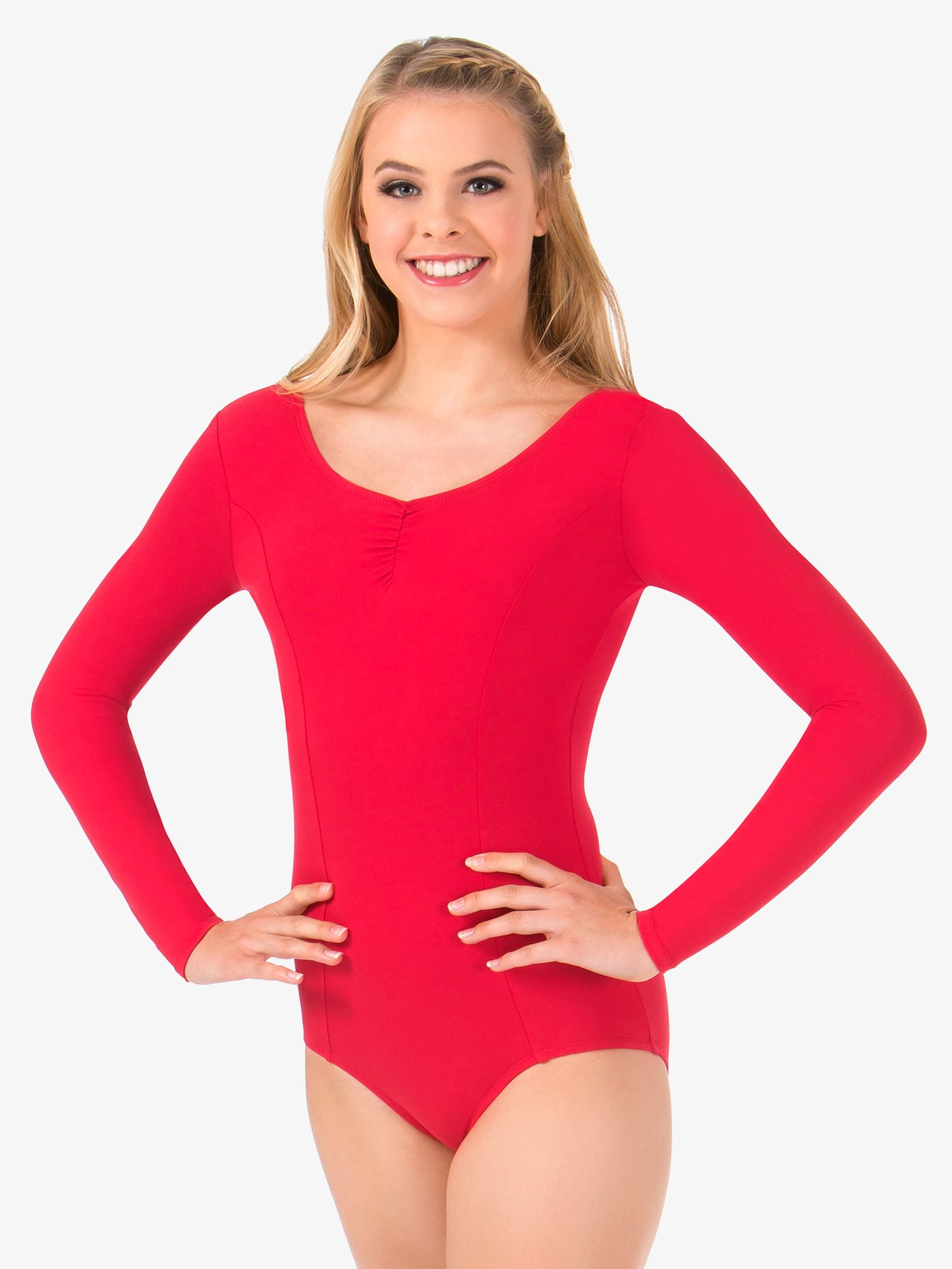 Theatricals Womens Pinch Front Long Sleeve Leotard TH5534