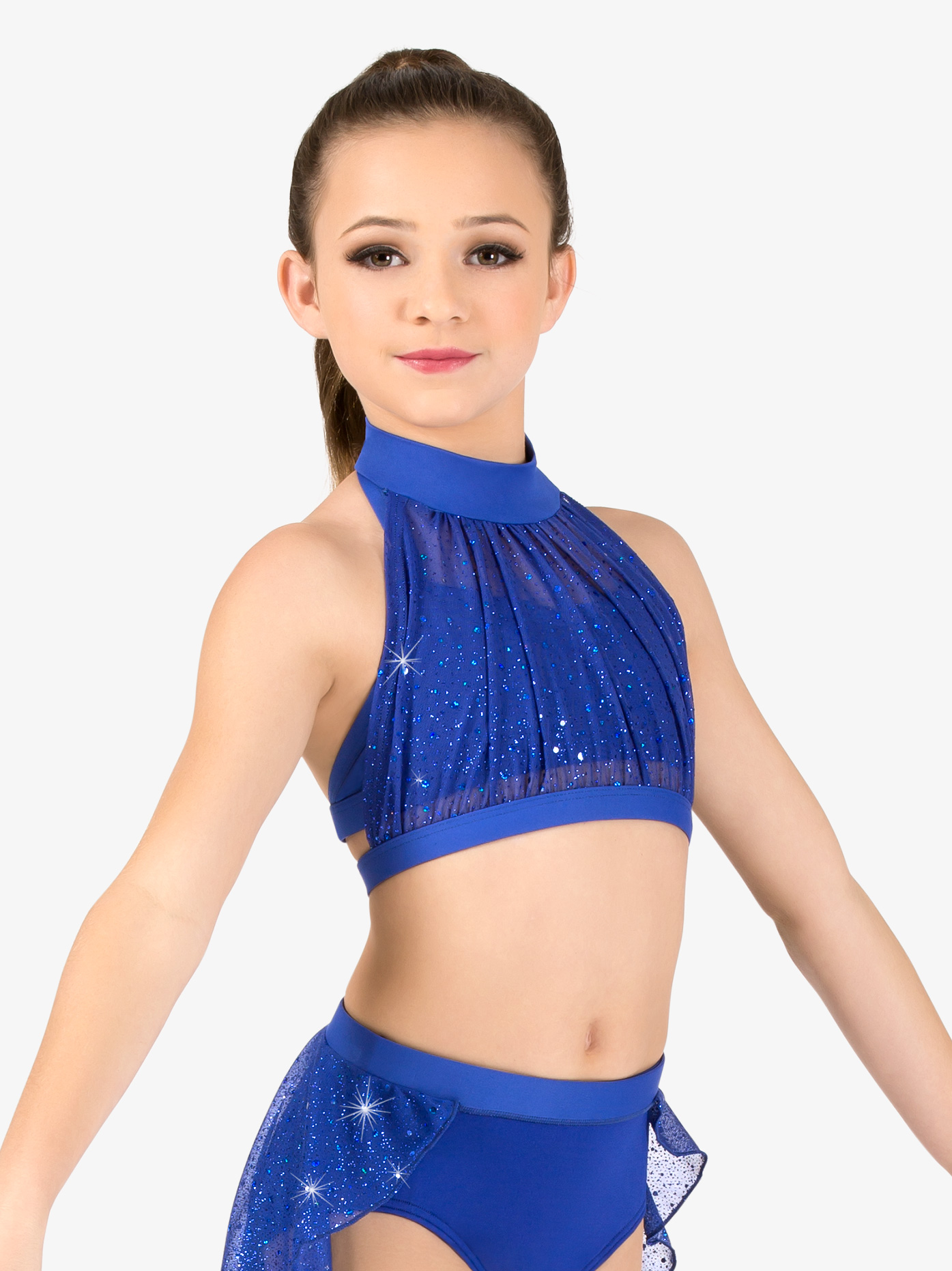 Body Wrappers Girls Performance Sheer Twinkle Mesh Halter Bra Top TW300