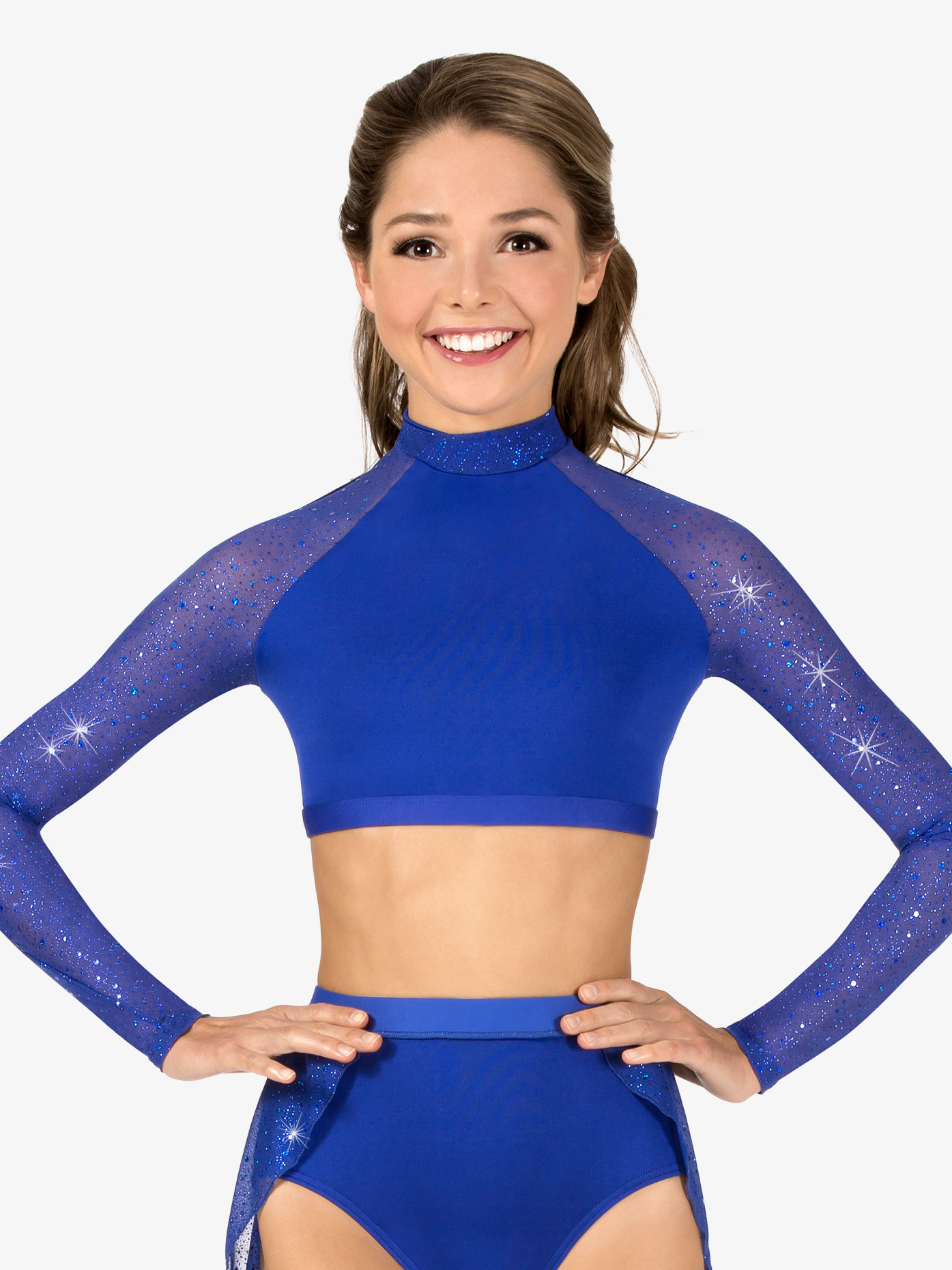 Body Wrappers Womens Performance Twinkle Mesh Long Sleeve Crop Top TW602