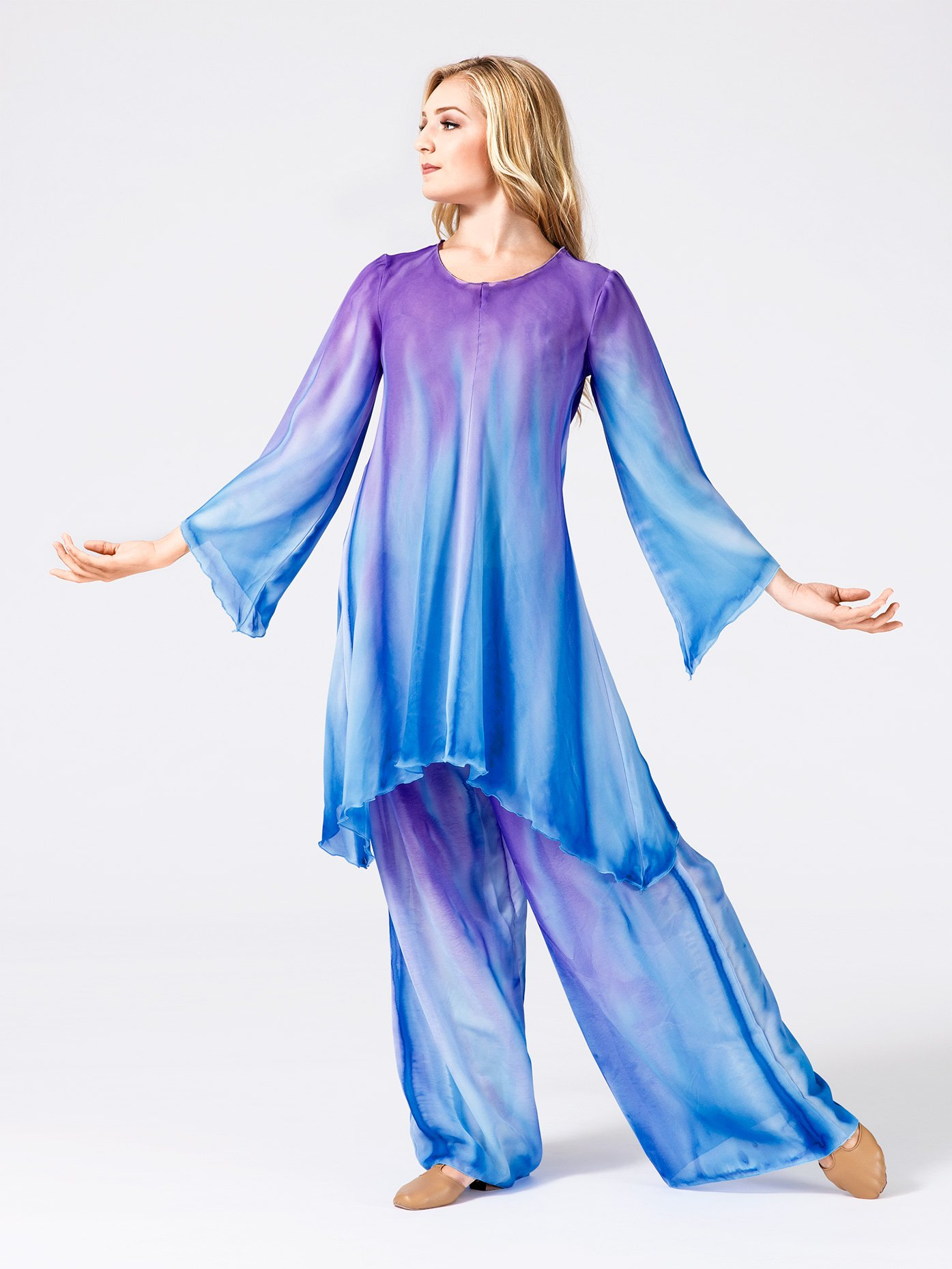 Watercolour Women's Plus Size Worship Long Sleeve Tunic WC101P