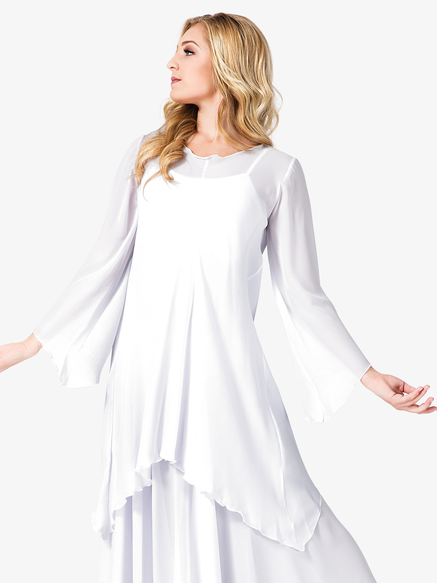 Watercolour Women's Worship Long Sleeve White Tunic WC101WHT
