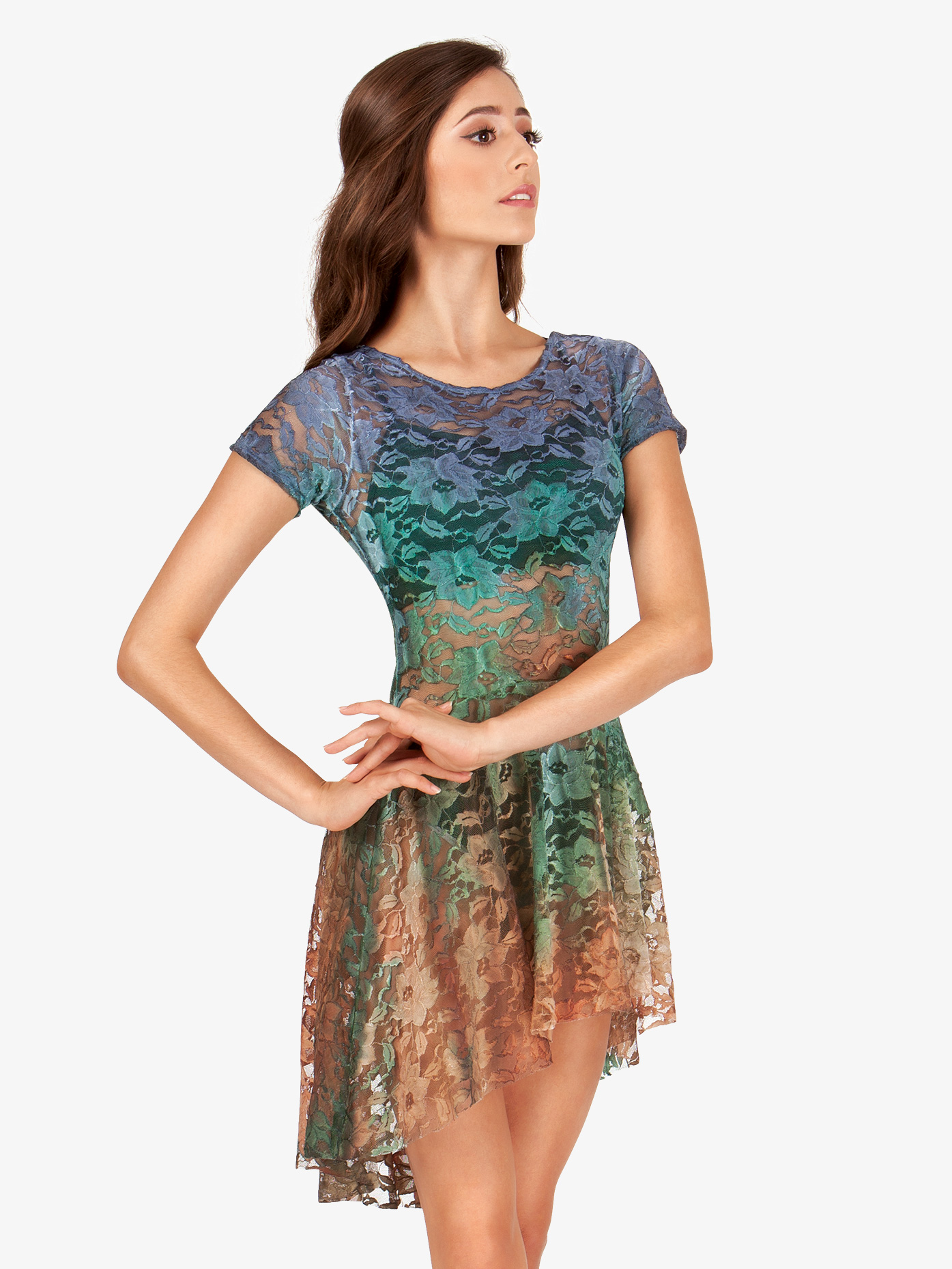 Watercolour Adult Lace Cap Sleeve Dress WC208
