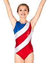 2d5f379f14f3e Womens Gymnastics Diagonal Patriotic Print Tank Leotard - Style No G686