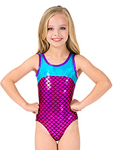 d3829b79f Gymnastics Fish Scale Print Long Sleeve Leotard - Leotards