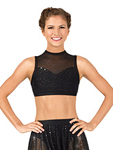 cac11550477c3 Womens Performance Twinkle Mesh High Neck Tank Bra Top - Style No TW604