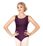 Child/Teen Eileen Flocked Velvet Tank Leotard