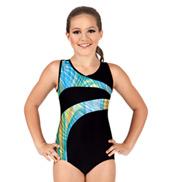 Girls Gymnastics Two-Tone V-Neck Tank Leotard
