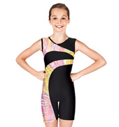 Girls Gymnastics Two-Tone V-Neck Tank Biketard