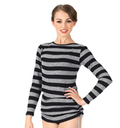 Adult Striped Knit Boatneck Warm Up Top