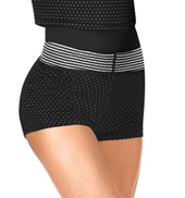 Adult Dot & Stripes Roll Waist Warmup Shorts