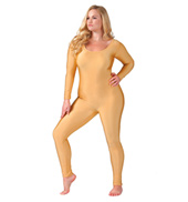 Adult Plus Size Scoop Neck Nylon Long Sleeve Unitard