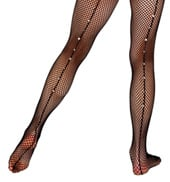 Adult Single Use Footed Fishnet Tights with Rhinestone Back Seam