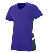 Ladies Plus Size Mesh Insert V-Neck T-Shirt