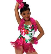 Child Caribbean Jam Tropical Print Halter Costume Leotard