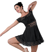 Adult Crimson Off-the-Shoulder Lace Insert Lyrical Costume Dress