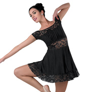 Child Crimson Off-the-Shoulder Lace Insert Lyrical Costume Dress