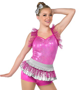 Adult Vacation Metallic Halter Costume Peplum Leotard