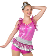 Child Vacation Metallic Halter Costume Peplum Leotard