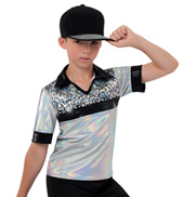 Mens Hologram Collared Metallic Costume Shirt
