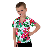 Boys Caribbean Jam Tropical Print Collared Costume Shirt