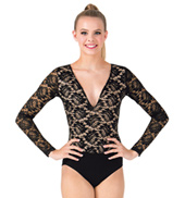 Adult Deep-V Lace Long Sleeve Bodysuit