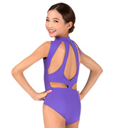 Girls High Neck Zip Front Tank Leotard