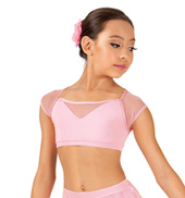 Child Short Sleeve Mesh Crop Dance Top