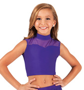 Child Sweetheart Mock Neck Crop Dance Top