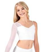 Girls Asymmetrical Faux Wrap Crop Dance Top
