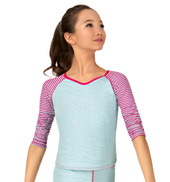 Child Dot & Stripes Long Sleeve Warmup Top