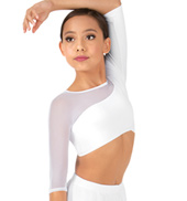 Child 3/4 Sleeve Asymmetrical Dance Crop Top