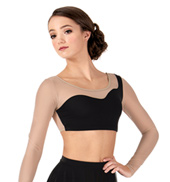 Adult Asymmetrical Long Sleeve Dance Crop Top