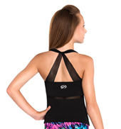Girls Black Mesh Cheer Tank Top