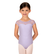 Girls Dorelle Heart Embroidered Short Sleeve Leotard