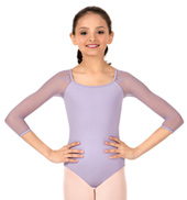 Girls Evegina Heart Embroidered 3/4 Sleeve Leotard