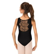 Girls Cayden Flower Sequin Tulle Tank Leotard