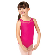 Girls Heart Mesh Keyhole Back Tank Leotard