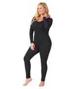 Adult Plus Size Scoop Neck Cotton Long Sleeve Unitard