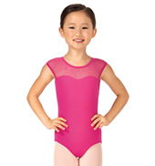 Child Cygni Short Sleeve Rhinestone Bow Back Leotard