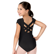 Girls  Bellflower Criss-Cross Short Sleeve Leotard