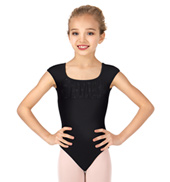 Girls Glitter Bow Front Short Sleeve Leotard