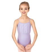 Girls Glitter Bow Front Camisole Leotard