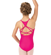 Girls Heart Mesh Strappy Back Camisole Leotard