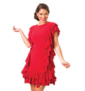 Adult Siren Ruffle Short Sleeve Ballroom Dress