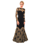 Womens Anemone Long Sleeve Ballroom Dress