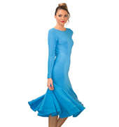 Womens Draped Back Midi Ballroom Dress