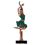 Green Skirt Ballerina Figurine