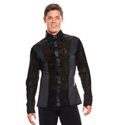 Mens Velvet Insert Long Sleeve Ballroom Top